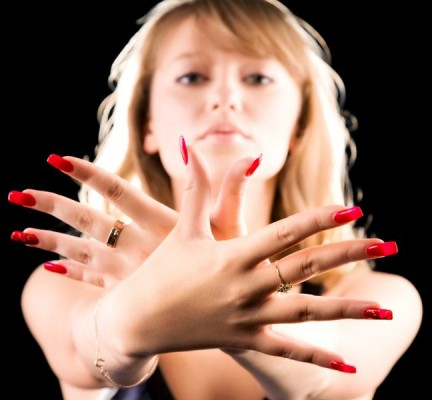 Long red manicure